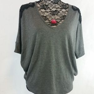 Sweet Claire M Batwing Sleeve Gray Lace Tunic Top